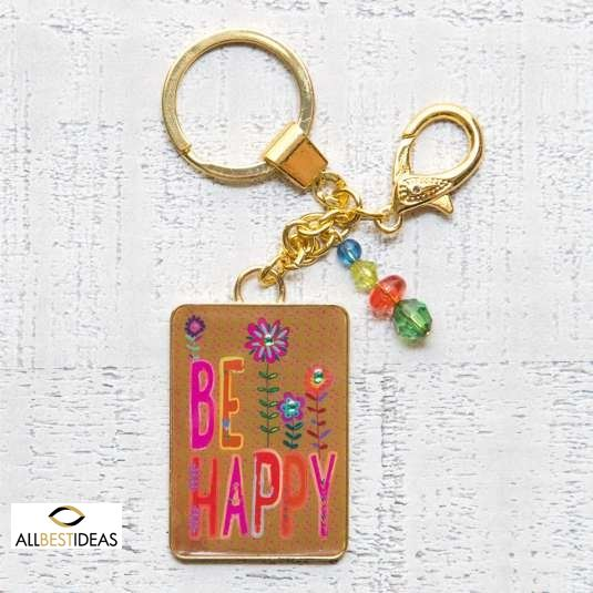 Glitter and Gold Key Chains Be Happy!