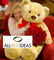 12 RED ROSES WITH BIG TEDDY BEAR!
