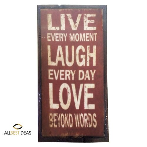 Wooden sign with quote