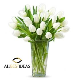 20 white tulips in a a vase