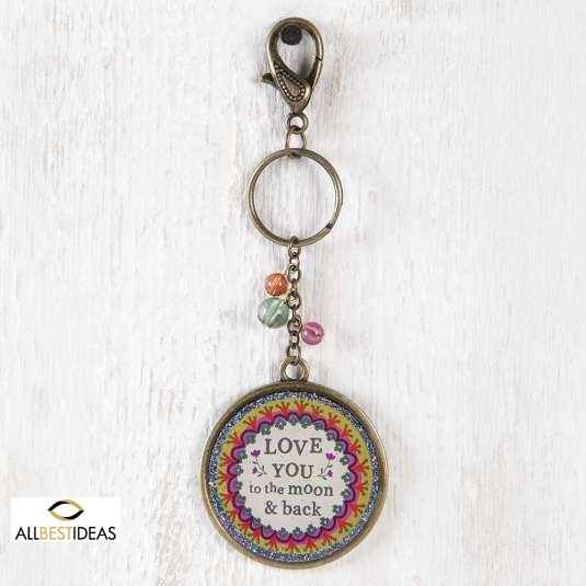Love You To The Moon Glitter Key Chain!