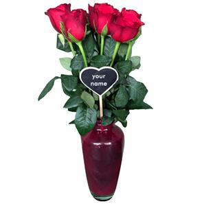 11 Red Roses in Red Vase!